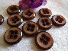 lot 5 boutons anciens marron effet corne vintage diamètre: 1,7 cm ref 1303