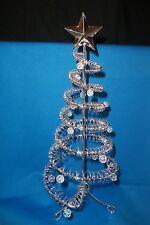 "Christmas Tree Silver Metal Spirals Star Ball Ornaments 14"" High Decorative NEW"