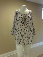 Apt.9 Women's plus Henley Peasant Sheer Top Gray/Pink Floral Size:3X New w/tag