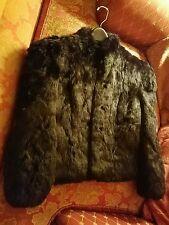 Women's Medium Made in Hong Kong Black Dyed Rabbit Fur Coat jacket silk lining