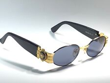 NEW VINTAGE GIANNI VERSACE MOD S81 GOLD BLACK OVAL SMALL 1990  ITALY SUNGLASSES