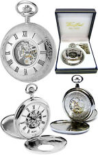 Woodford Twin-Lid Half Hunter Skeleton Pocket Watch, 17 Jewel Chrome-Plated 1078
