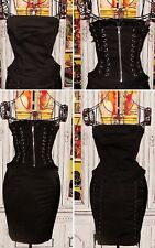 Betsey Johnson VINTAGE Dress CORSET Black LACE UP Top BUSTIER Zip Up RUFFLE S 2