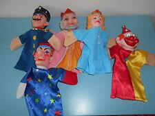 (16.10.16.4) Lot de 5 marionnettes guignol théâtre Reine Roi clown