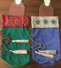 2- Velvet Wine Bottle Gift Bags With Beaded Trim Drawstring Jabari NWT