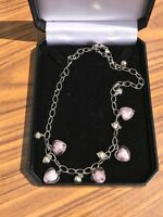 Facets Ladies Silver and Murano Glass Heart Themed Necklace - BNIB