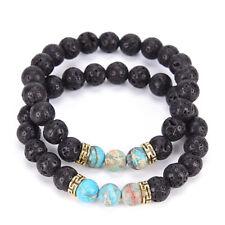 2 PCS Lava Stone Beads Natural Stone Bracelet Set Unisex Stretch Yoga BraceletGT
