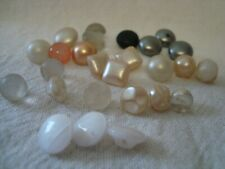 25 Vintage Glass Buttons Pearly Finish Mix Colours and Shapes