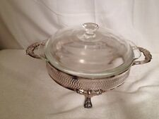 Vintage Anchor Hocking Clear glass Bowl in Metal Holder with Handles