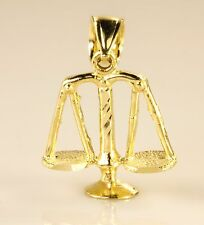 Real 10k Yellow Gold Lucky Libra Weighing Scale of Justice Pendant Charm Piece
