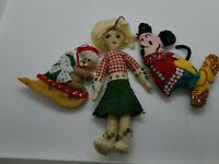 Handmade VTG Felt & Sequin Christmas Ornaments: Cowgirl-Mickey Mouse-Santa Bear