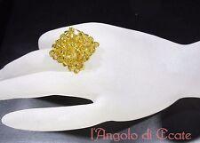 ANELLO artigianale fatto a mano perle cristalli Swarovski color oro
