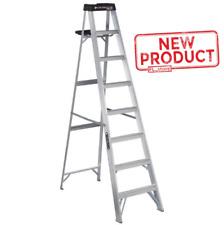 8 Ft Step Ladder Louisville Aluminum Foldable Slip Resist Lightweight Durable