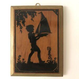 Antique Wood Silhouette Wall Plaque Boy Sailboat Vtg Art Nouveau Black Gold