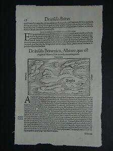 1550 MUNSTER  Atlas Woodcut map  BRITISH ISLES - Insulis Britannicis Albione
