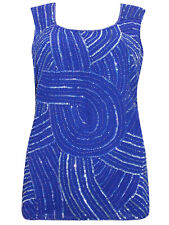 Ladies BLUE Trouser Suit with Bead & Sequin Sleeveless Top & Duster Jacket 18-28