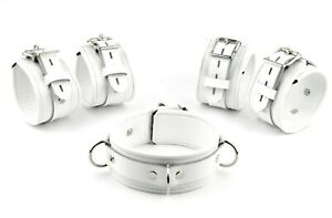 STUNNING Set of Cuffs PREMIUM Handcrafted White on White  Leather Set3WhWh