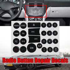 For Mercedes Benz Matte Black Radio Stereo Button Repair Decals Stickers Repair