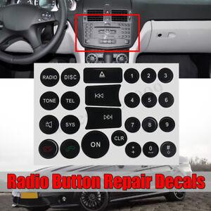 For Mercedes Benz Matte Black Radio Stereo Button Repair Decals Stickers Repair