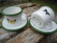 LOT DE 2 TASSES EXPRESSO EMAILLEES  PAPILLONS  EMAIL VERITABLE FAB. FRANCE NEUF