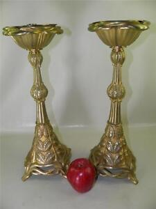 Antique Pair Gilded Bronze Art Nouveau Candlesticks Candle Holders 16.5'' High