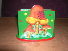 Wooden letter/note holder painted colorfully with mushrooms, desk accessory