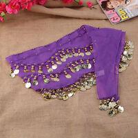 3 Rows 128 Gold Coins Belly Dance Costume Hip Scarf Skirt Belt Wrap Waist BG