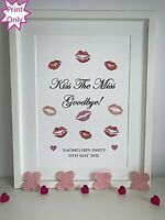 Hen Party Game Accessories Kiss The Miss Goodbye Personalised Keepsake Gift