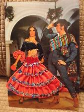 Post Card Spain Costume Silk Embroidered Sewn Spanish Unused Vintage