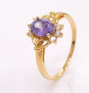 Women Lilac CZ Cubic Zirconia Luxury Small Ring 7.2 O 18K Yellow Gold Plated UK