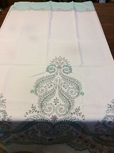 Paisley Floral Fabric Shower Curtain Pale Blue On White NIP
