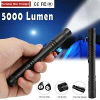 50000LM LED Mini Flashlight Penlight Portable Torch Waterproof Clip Light Lamp
