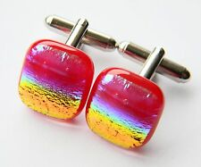Genuine Dichroic Glass Hand Crafted Cufflinks - Red Metallic Rainbow