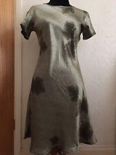 100% Pure Silk ladies Dark Olive Green Leaf Print Dress Size 8 Brand New