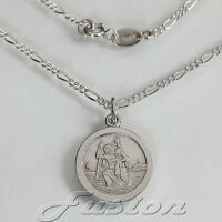 Solid 925 Sterling Silver 15mm St Christopher Necklace Pendant Figaro Chain+Box