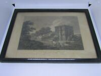 Old antique print - engraving of Wetherall Priory - Cumbria