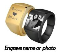 Personalized Engrave Photo Ring Stainless Steel Polished Men Wedding Family Gift