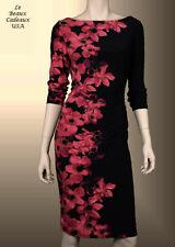 LAUREN RALPH LAUREN Women Dress Size 4 BLACK REDS FLORAL Knee Dressy NWT$134