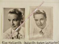 ORIG UM 1940/50 FOTO 2 X ELSE HOLLERITH VON HOLLERITH SYSTEM LOCHKARTEN