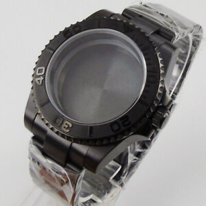 Fit NH35/NH36 Automatic Black PVD Plated Watch Case Brushed Bezel Insert SUB