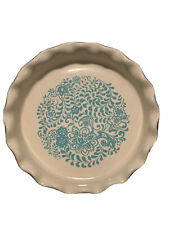 """The Pioneer Woman blue Botanical 9"""" Ruffle Crimped edge Top Pie Plate Bakeware"""