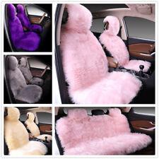Faux Wool Plush Long Hair Full Car Seat Cushion Covers Universal Fit Winter Warm