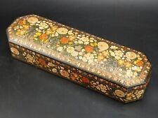 More details for antique indian kashmir painted calligraphy pen box qalamdan