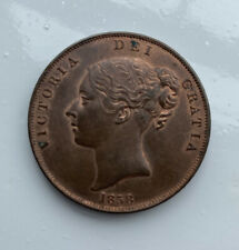 More details for 1858 british penny victoria young head copper coin (ref121c)