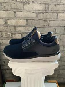 New Skechers Men's Streetwear Slip On Navy Black Memory Foam Shoes - Pick Size