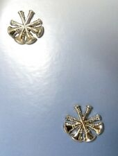 2 Tacs 4 Crossed Bugles Nickel Plated Deputy Fire Chief Collar Pin Device Set of