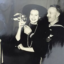 Vintage Black and White Photo US Navy Sailor Pouring Woman Drink Alcohol Party