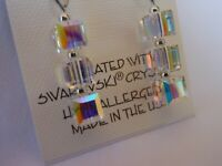 HYPOALLERGENIC  Dangle Earrings  Swarovski Elements Crystal Cubes in AB Color