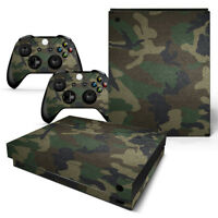 Xbox One X Console & 2 Controllers Green Camo Vinyl Skin Decal