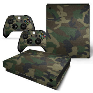 For Xbox One X Console & 2 Controllers Green Camo Vinyl Skin Decal